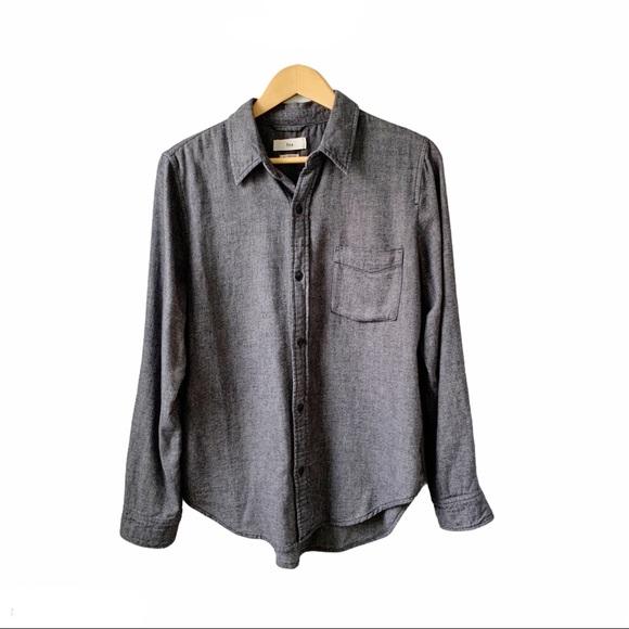 Aritzia TNA Grey Button Down Flannel Shirt Sz L